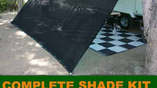 Black RV Awning Shade Complete Kit 10 X 16 Sun Canopy Shelter