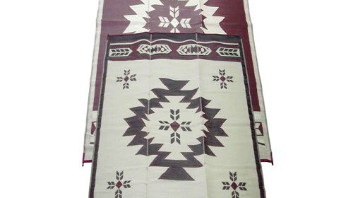 Fireside Patio Mats Navajo Breeze Burgundy And Beige 9 Ft X 18 Polypropylene Indoor Outdoor Reversible RV Mat