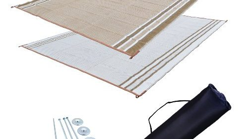 RV Patio Mat Awning Outdoor Rug Trailer Complete Kit 9x12 Desert Sands Beige