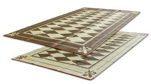 RV Patio Mat Awning Trailer Brown And Beige Regal Diamond 9x18