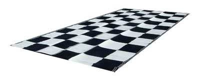 RV Patio Mat Awning 9x18 Black White Checkered Flag