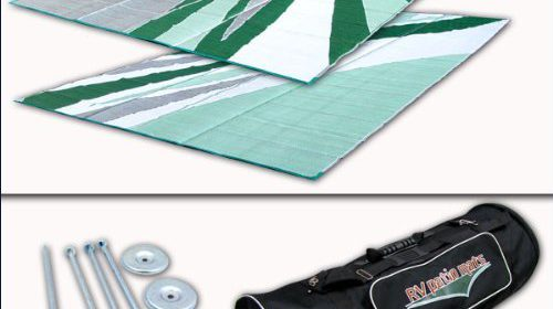 RV Patio Mat Awning Outdoor Leisure 9x12 Green Wave Complete Kit